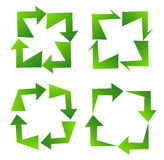 Set of green recycle sign Royalty Free Stock Photos