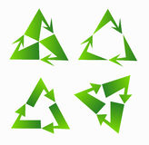 Set of green recycle sign design on triangle Royalty Free Stock Photography
