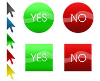 Set of green and red buttons and arrows. There is a set of four vector buttons and colorful arrows. You can put there your own text and compose it as you like Royalty Free Stock Photo