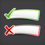 003 Set of green and red check mark symbol and blank banner with Stock Images