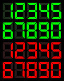 Set of green and red digital number Royalty Free Stock Images