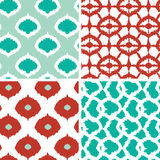 Set of green and red ikat geometric seamless Royalty Free Stock Image
