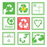 Set of green and red recycle sign symbol on green square Royalty Free Stock Photos