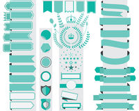 Set of green ribbon banners and labels design element Royalty Free Stock Image