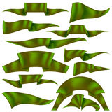 Set of Green Ribbons. Isolated on White Background. Flag Collection Royalty Free Stock Photo