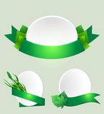 Set of green ribbons with leaves Royalty Free Stock Image