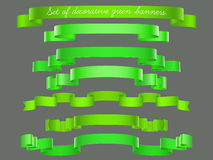 Set of green ribbons. Set of green ribbons for your design stock illustration