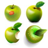 Set of green ripe Apples, four various view Royalty Free Stock Photography
