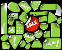 Set of green sale labels Royalty Free Stock Images