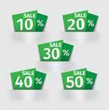 Set of green Sale percent sticker price tag Royalty Free Stock Photos