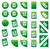 Set of green sales signs Royalty Free Stock Images