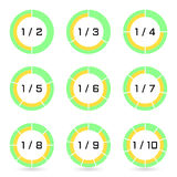 Set of green segmented ring diagrams with selected fraction. Sectoral graphs in flat style. Infographics. Vector. Set of green segmented ring diagrams with Royalty Free Stock Photo