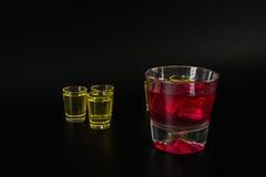 Set of green shots, green kamikaze, black background, party set Stock Images