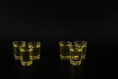 Set of green shots, green kamikaze, black background, party set Royalty Free Stock Photography