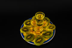 Set of green shots, green kamikaze, fresh kiwi fruit slices, bla Stock Photography