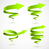 Set of green spiral arrows Royalty Free Stock Images