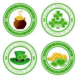 Set of green  stamps with four leaf clover Royalty Free Stock Photography