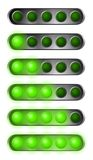 Set of green start lights. Contains five bulb Stock Image