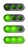 Set of green start lights. Contains three bulbs Royalty Free Stock Photos