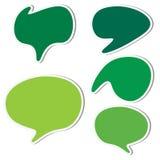 Set of green sticker speech bubbles Stock Image