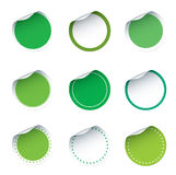 Set of green  stickers Stock Photos