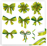 Set of green striped gift bows with ribbons Royalty Free Stock Photo