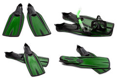Set of green swim fins, mask and snorkel for diving Stock Photography