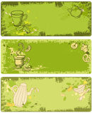 Set of green tea banners Stock Photography
