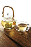 Set of green tea cup on wooden table in white background Royalty Free Stock Photography
