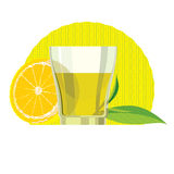 Set of Green tea leaves, cup, glass. Flat illustration Royalty Free Stock Photo