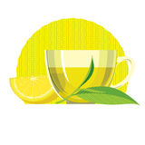Set of Green tea leaves, cup, glass. Flat illustration Royalty Free Stock Image