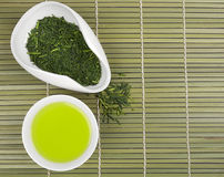 Set of green tea for tea ceremony Stock Photos