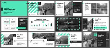 Green themed presentation templates. Set of green themed presentation images with monochrome images, chart and copy space royalty free illustration