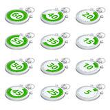 Set of green timers. Vector 3d isometric illustration. Sports stopwatch. Stock Image