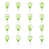 Set of green travel icons Royalty Free Stock Photo