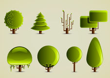 Set of green trees for creating video games. Set of eight green trees for creating video games Stock Photos