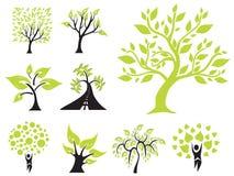 Set of 9 green trees Stock Photos