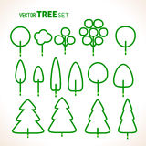 Set of green trees icons Royalty Free Stock Photos