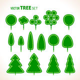 Set of green trees icons Stock Photo