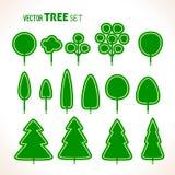 Set of green trees icons Stock Photo