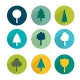 Set of green trees modern circle sign shadows icons. Stock Photo