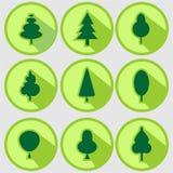 Set of green trees modern circle sign shadows icons vector illustration