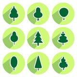 Set of green trees modern circle sign shadows icons royalty free illustration
