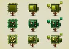 Set of green trees. Set of nine green trees Stock Photos