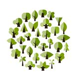 Set of green trees for your design Royalty Free Stock Photography