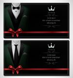 Set of green tuxedo business card templates with men`s suits and black tie Royalty Free Stock Photography