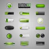 Set of green vector buttons for web, app, infographic. Stock Image
