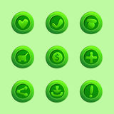 Set of green vector elements For Ui Game Stock Images