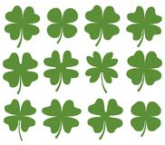 Set of green vector four leaf clovers. Set of green vector four leaf clover silhouette drawing for icons, cards and for Saint Patrick`s day designs Royalty Free Stock Image