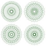 Set of Green Vector Guilloche Rosettes Stock Photography